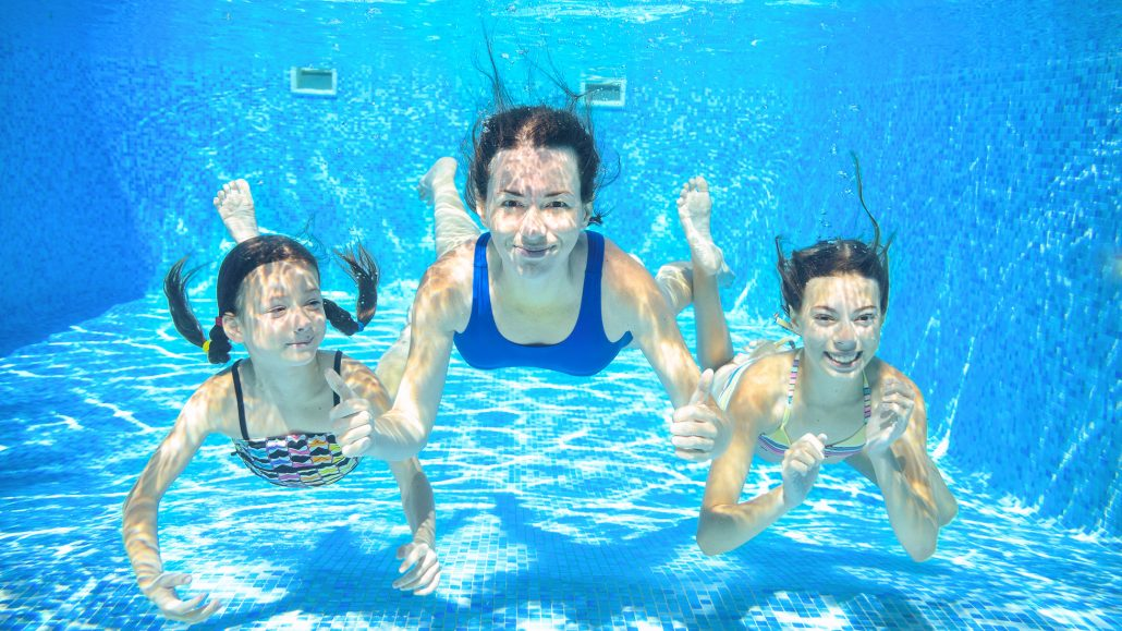 swimming pool with friends